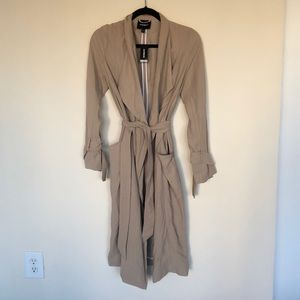 Express Light Taupe Soft Drape Trench Coat XS